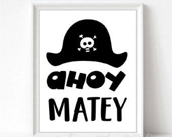 Ahoy Matey Quote Etsy