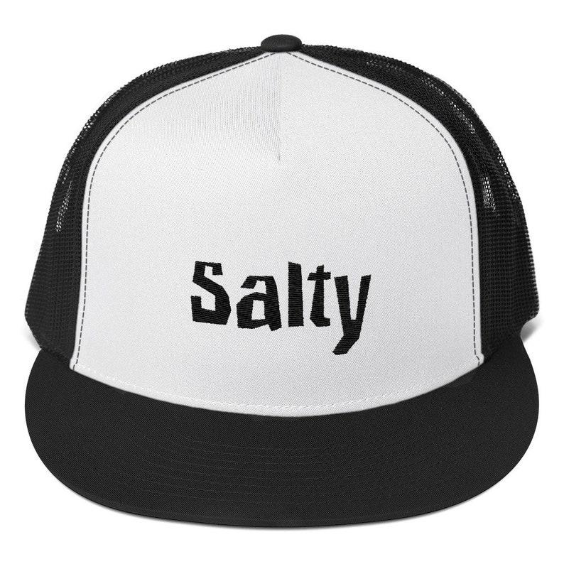 2f06994f49d48 Salty Funny Sarcastic Dad Hat Snapback Black White Trucker Cap