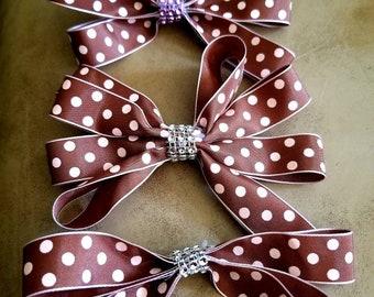 Brown and Pink Polka dot hair bow