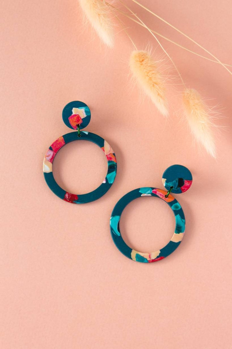 Mosaic circle hoop earrings  tortoise earrings  acetate image 0