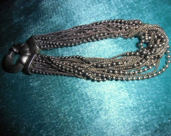 India? Jewelry, unusual old silver multi-strand chain bracelet with heavy clasp