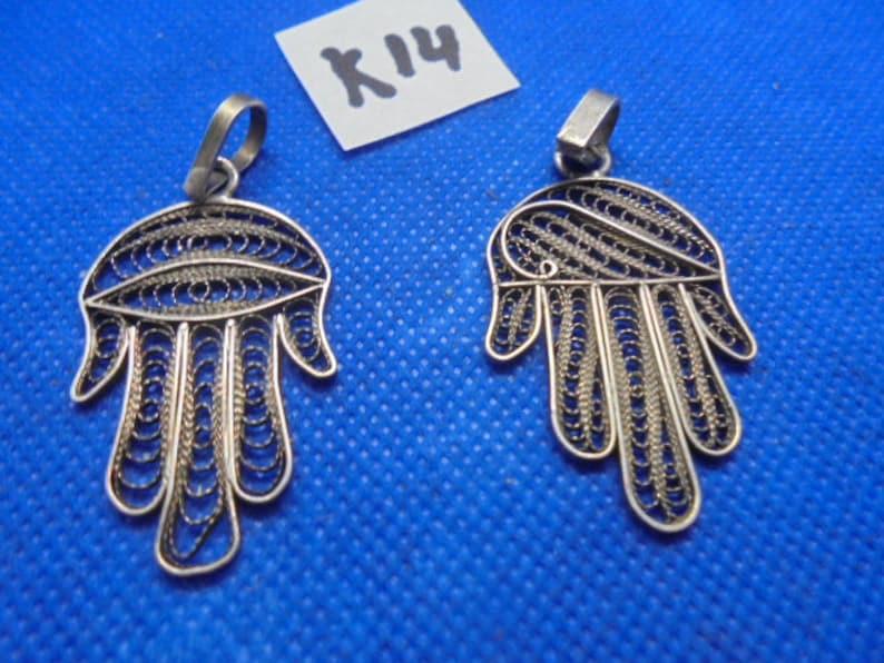 Moroccan Jewelry two old silver Berber filigree hamsa pendants 2 x 1 inch