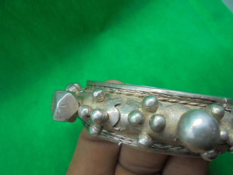 2 38 inches diameter silver SaharanTuareg Goulimime clasp bracelet with knobs Moroccan Jewelry