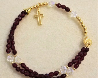 Garnet crystal rosary bracelet