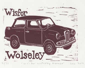 W is for Wolseley from my Linocut Alphabet of Classic Cars/Motorcycles
