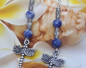 Tibetan silver dragonfly earrings with lapis lazuli beads