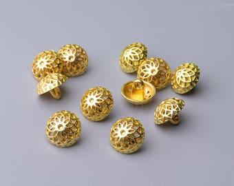 Metal Buttons-10pcs 2 sizes 12/10mm Hemispheric Button Metal Shank Buttons Gold Button