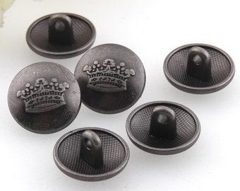 Crown pattern buttons,Gun color metal buttons,Jewelry buttons,Small buttons,sewing buttons for shirt/suit/coat,Clothing Accessories-1/2''
