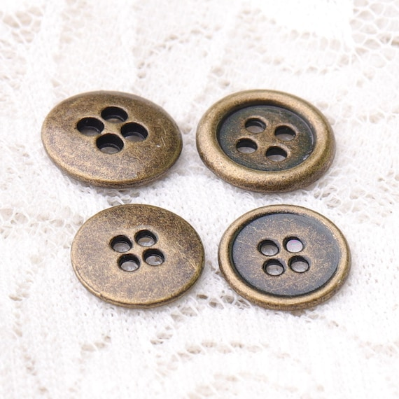 12PCS Bronze Silver Vintage Metal Round Two Hole Buttons Coat Sewing 15 20 mm