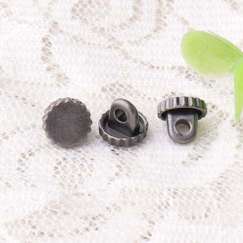 tiny buttons,10 pcs 7 mm jagged edges metal buttons,black buttons with  shank,clothing DIY buttons