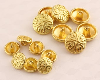 10 pcs round gold metal buttons,4 heart-shaped buttons whit shank,sewing buttons for shirt sweater leather wrap clasps 16/12 mm