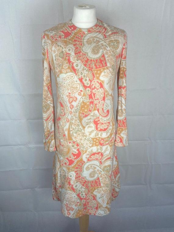 60's Mod Paisley Print Shift Dress