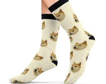 Doge Socks Cushion Socks Dog Meme Socks Pattern Best Internet Meme Gifts