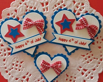 Set of 3 Fourth of July Die Cuts - Patriotic Scrapbooking Embellishments - Handmade Fourth of July Embellishments, Stars and Stripes die cut