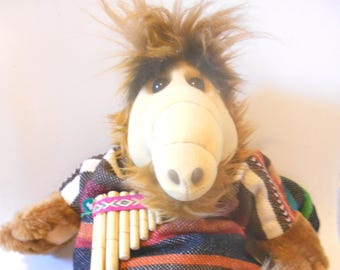 ALF plush Mexican 50 cm with pan flute is an original vintage