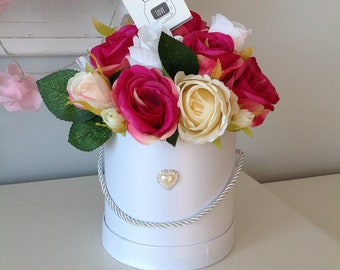 Mother's day Faux flowers hat box bouquet wedding gift roses occassion shabby  chic floral arrangement centerpiece