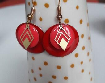 Sequin enamelled earrings