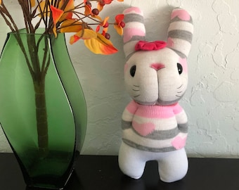 Lovely heart long ear sock bunny