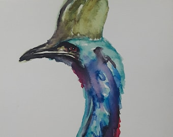 Watercolor Cassowary Print