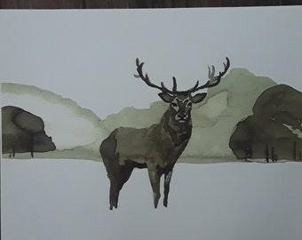 Deer print coffee wash
