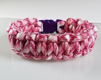 Simple Paracord Bracelet in Breast Cancer Awareness Pink