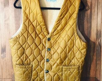 Treco's Westwear Quilted Shearling Vest sz. M Vintage
