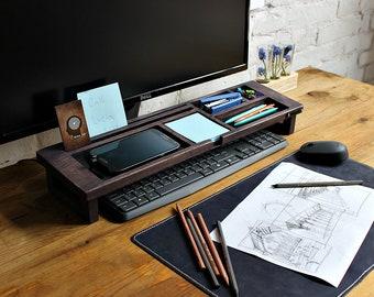 Wood Desk Organizer U2013 Tray Organizer (Exl. Col) Office Desk Accessories,  Keyboard Rack Desktop, Wooden Desk Organizer, Desktop Shelf, Gift