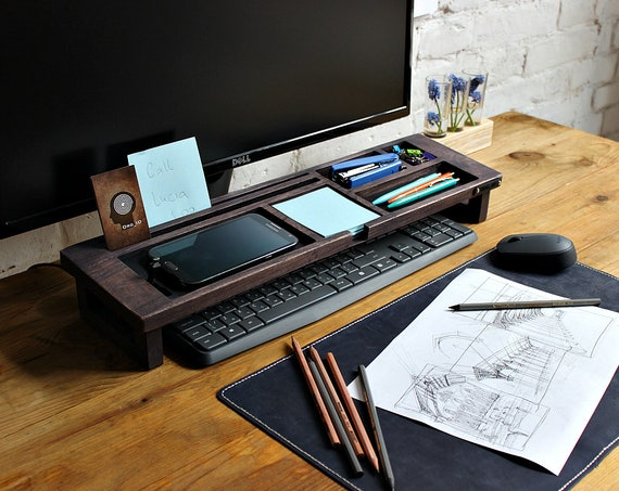 Wood Desk Organizer Oak Desk Accessories Exl Col Office Desk Storage Keyboard Rack Unique Gift For All Multiuse Organizer Office Gift
