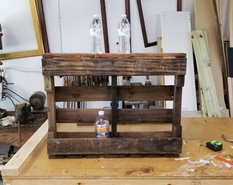 Rustic, recycled and burnt pallet wine rack.