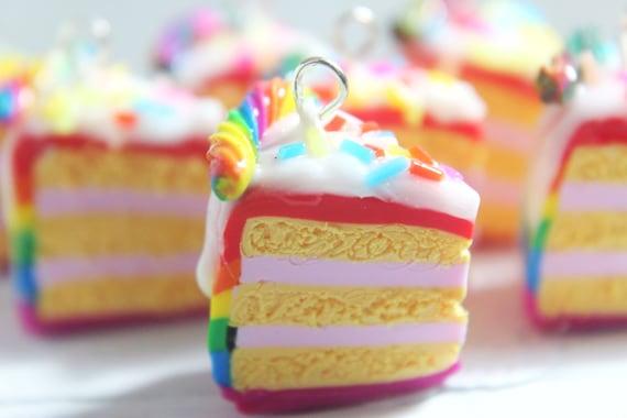 Handmade Chunky Rainbow Cake With Sprinkles  Keyring//Bag Charm