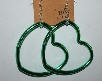 metallic heart earrings