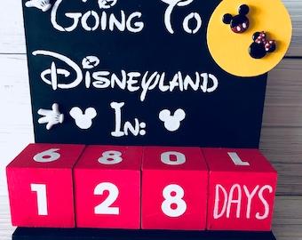 Countdown To Disneyland Trip Mickey Block Calendar Sign Days Until Weeks Perpetual Vacation
