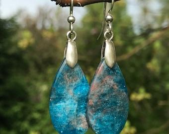 Apatite, sterling silver, earrings