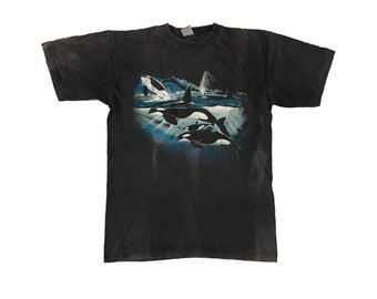 Vintage 1989 Orca T-shirt Rare Art By Robert Wyland Rare Killer Whale Wildlife Aqua Animal Sea Ocean Bleached Dyed Sun Faded Black Tee L