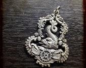 Antique French Rococo Dolphin Silver Vintage Art medal - Vintage rare pendant 18th century versailles inspiration monarchy