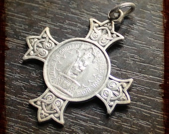 Antique French Religious Cross Pendant with Virgin Mary Our Lady of la Treille - Cathedral of Lille - North of France