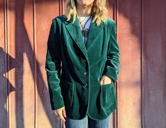 80s 90s Emerald Velvet Blazer Size M - L | Vintage