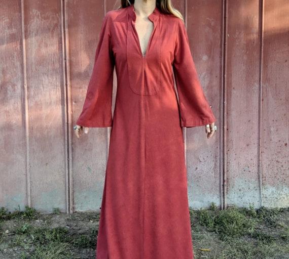 70s Maxi Tunic Dress Kaftan Terracotta Microsuede
