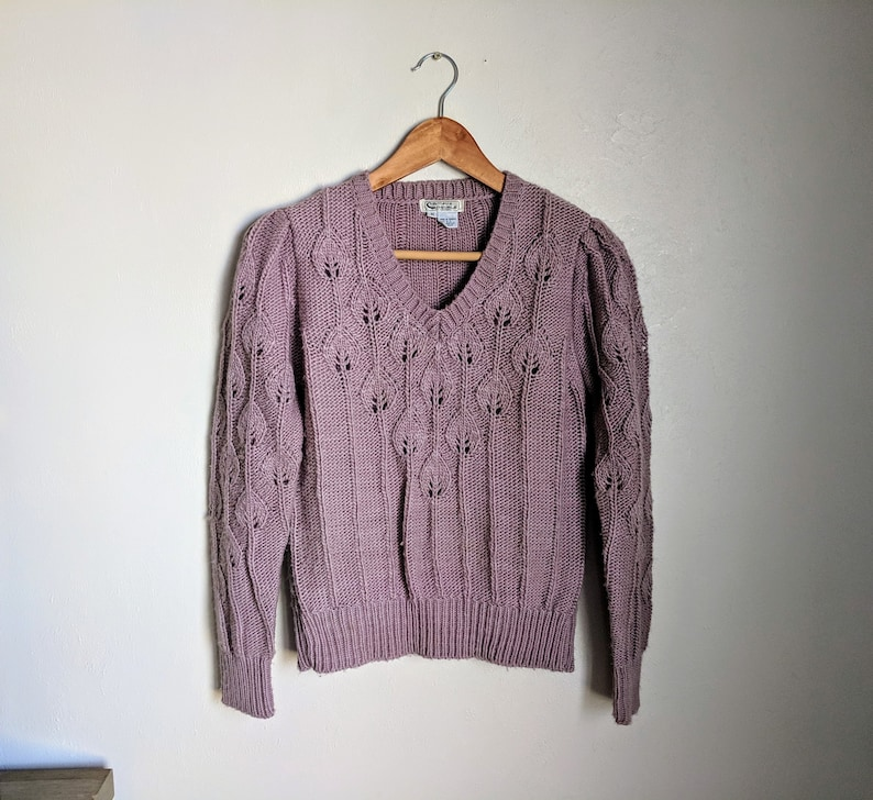 bd251e6c5a185f 80s Vintage Dusty Lilac Chunky Knit Sweater Purple Sweater | Etsy