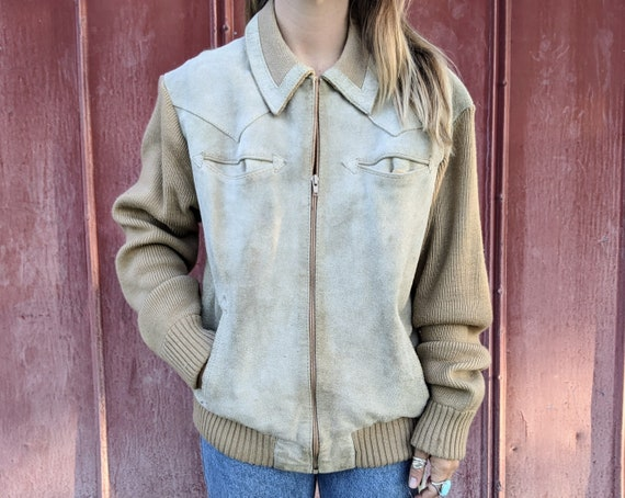 70s Suede Jacket Knit Accents Western Men's L/Wome