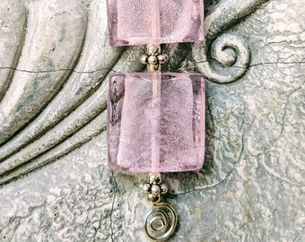 Ribbon necklace // Pink necklace // Square stone necklace // Organza necklace // Pink glass pendant / Mother's day gift