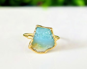 Blue Opal Wire Ring Blue Peruvian Opal Ring Wire Wrapped Peruvian Opal Solitaire