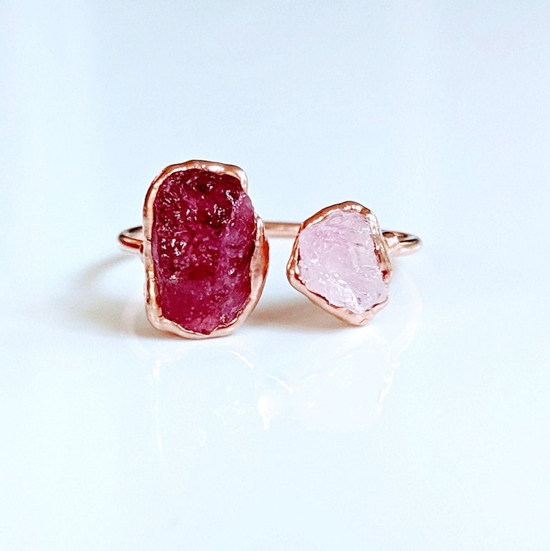 Multi stone ring~Raw gemstone ring~Birthstone ring~Electroformed ring~Rose Gold ring~Boho ring