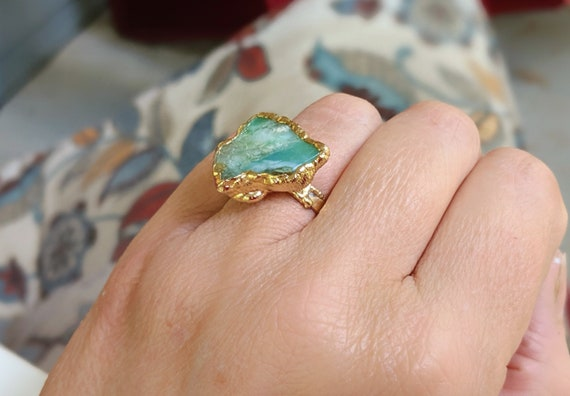 rare raw stone ring yellow raw opal rose gold filled size 7 ring Raw honey opal gold ring jewelry women fashion ring