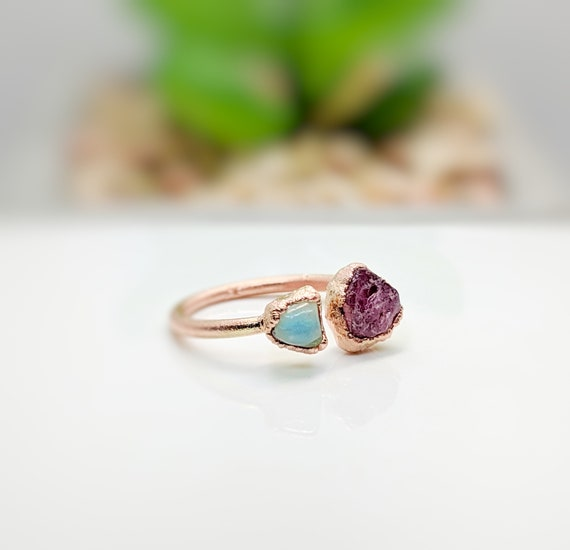 Raw Pink Tourmaline Ring  Raw Ring  Stacking Ring  October Birthday  Raw Stone Ring  Birthday Gift  Bohemian Jewelry  Pink Toumaline