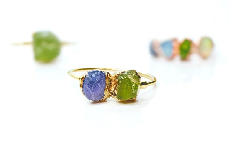 Mother's ring~Birthstone ring~Custom mothers ring~Raw gemstone ring~Statement ring~Multi stone ring