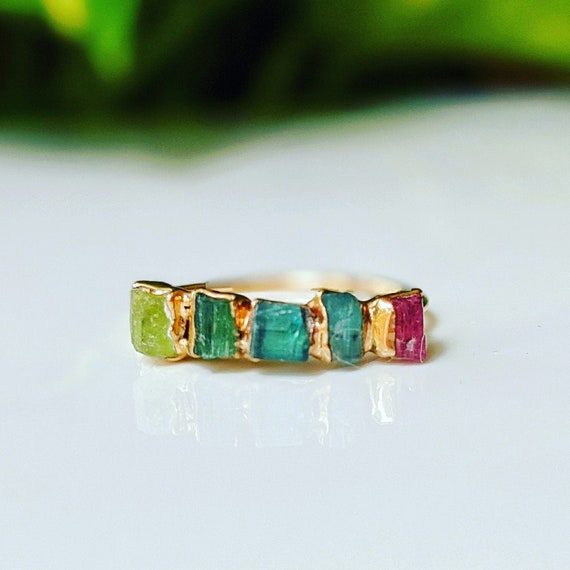 Ombre Raw Tourmaline Crystal Cigar Band Ring