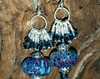 Blue Orchids Sterling Silver Artisan Lampwork Earrings