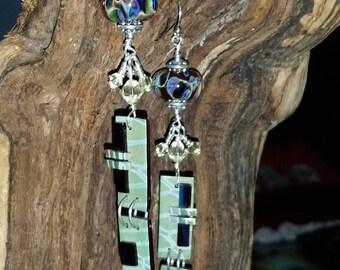 Sterling Silver Lampwork & Slump Glass Bead Earrings