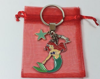 LITTLE MERMAID Ariel Dome Girls Woman's Keyring Bag Charm Gift Pouch UK